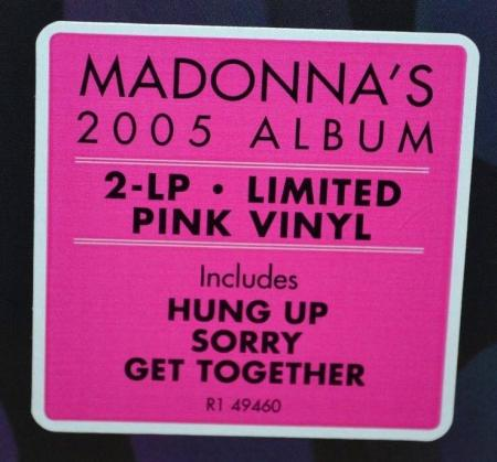 Madonna, Confessions On A Dance Floor USA 2017 reissue LP front hype sticker