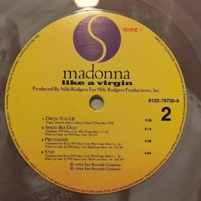 Madonna Sainsbury's limited edition Like A Virgin Clear Vinyl LP Label Side 2