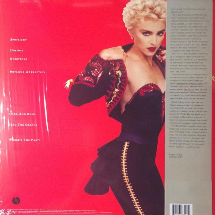 Madonna Record Store Day 2018 Reissue You Can Dance Red Vinyl EU LP Back Cover