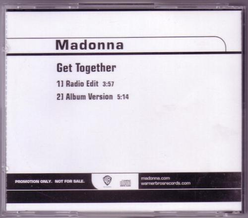 Picture of: GET TOGETHER USA PROMO CD WITH CUSTOM REAR INLAY at buySellMadonna.co.uk