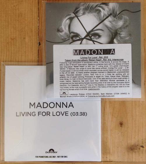 Picture of: Living For Love UK/Euro Genuine 100% Official CD-r Promo in P/S and PROMO STICKER!! at buySellMadonna.co.uk